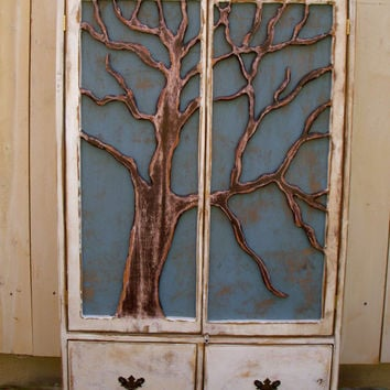 Handmade Furniture Oak Tree Cabinet Storage by honeystreasures
