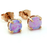 Synthetic Pink Fire Opal Rose Gold Plated Stud  Earring