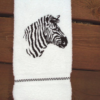 Zebra Silhouette Embroidered bath hand towel.