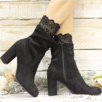LACE ankle boot sock - black