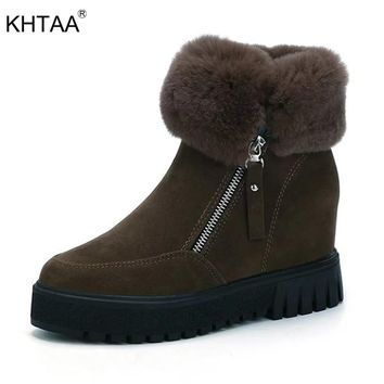 KHTAA Fashion Faux Suede Zipper Women Ankle Boots Platform Increasing Height Snow Boots Warm Plush Female Fluffy Winter Shoes