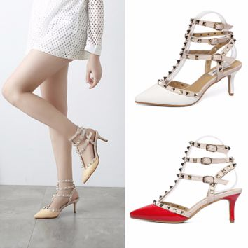 Trendy Close Toe Rivet Strap Edgy Low Heels