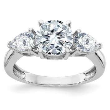 14k White Gold 3-Stone Round and Pear Moissanite Engagement Ring
