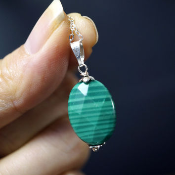 Sterling Silver Malachite Necklace  -  Faceted Genuine Malachite Pendant - Heart Chakra Healing - Malachite Healing Necklace