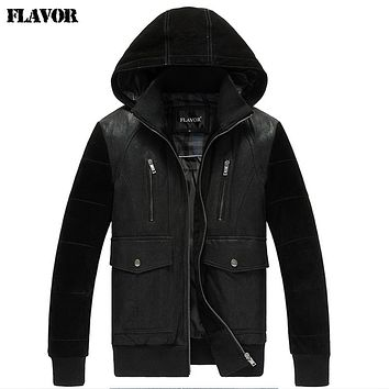 Men's real leather jacket hooded hat jackets Genuine Leather jacket men leather coat warm padding cotton