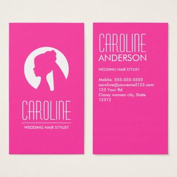 Wedding hair stylist hot pink fashion business card