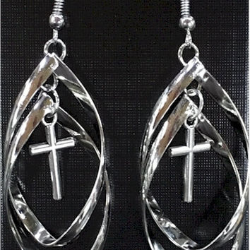 Silver Double Twist Hoop with Hollow or Classic Cross Earrings Long Drop Dangle Womans Girls Christian Jewelry - Saint Michaels Jewelry