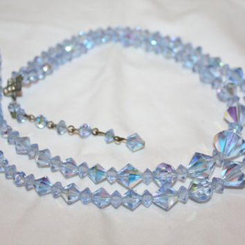 Vintage Blue Crystal Necklace, Retro 2 Strand Glass Necklace, 1950s Jewelry, Wedding Bridal Necklace