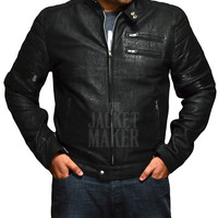 Mayhem Cafe Racer Distressed Black Biker Style Men's Leather Jacket