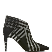 Black And Platinum Suede Lamb And Patent Calf Bootie by Pierre Hardy - Moda Operandi
