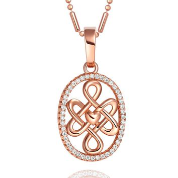 Cute Small Celtic Shield Protection Knot Gold-Tone Magical Heart Powers Crystals Amulet Necklace