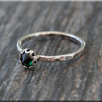 Emerald Ring, May Birthstone Ring, Mini Inverted Gemstone Ring, Sterling Silver Ring, Emerald Stacking Ring, Emerald May Birthstone Ring