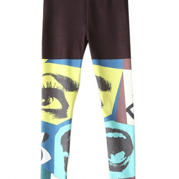 Abstract Character Print Elastic Waist Skinny Leggings