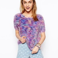 ASOS Knitted Tee in Fluffy Space Dye - Multi