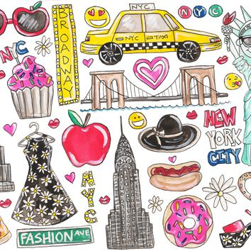 I Love NYC Watercolor Painting