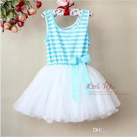 New Fashion Summer Kids Baby Girls Ball Gown Rainbows Stripes Tulle Tutu Ruffle Princess Party Fairy Vest the Veil Bow Cotton Dresses.