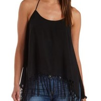 Black Macrame Fringe Trapeze Tank Top by Charlotte Russe