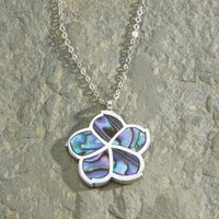 Pewter and Paua Hibiscus with Chain Necklace