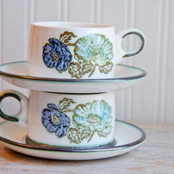 Vintage Wedgwood Iona Tea Cup and Iona Saucer, Tea Cup Set, Blue Green Flowers, Aqua Cobalt Blue, Tea for Two, Stoneware Ironstone,  4 piece