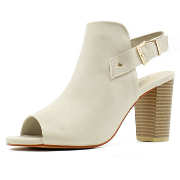 Allegra K Women Peep Toe Bootie Stacked High Heel Cutout Ankle Strap Boot Ivory 5 B(M) US '