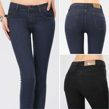 Denim Skinny Zippered Pocket Pants