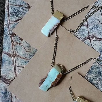 Gold Dipped Chrysoprase Natural Stone Necklace