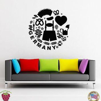 Wall Stickers Vinyl Decal I Love Germany Hearts Europe Travel  Unique Gift (z1918)