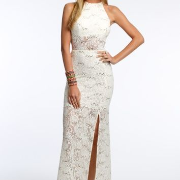 Sequin Lace Illusion Dress with Side Slit