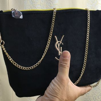 YSL new embroidery velvet chain slanted single shoulder bag with large capacity gift cosmetic bag