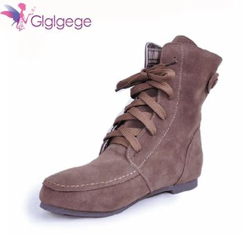 Glglgege Winter Ankle Short Women Boots Flat Heel Lace-Up Single Martin Boots Green Shoes Push Warm Flat Shoes Ladies Large Size