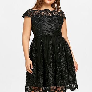 Lace Scalloped Tulle Embroidered Short Sleeves A-Line Plus Size Dress