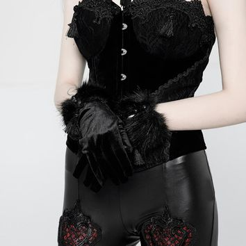 Women's Fur Trimmed Velor Punk Gloves - Punk Design