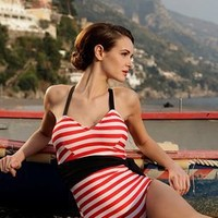 Red and White Stripe Swim Suit with Black Sash