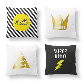 SET of 4 Pillows, Super Hero, Kids Room Decor, Throw Pillow, Cushion Cover, Be Brave, Gold Pillow, Hello Pillow, Bed Pillow, Nursery Art