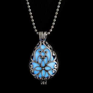 Glow In Dark Locket Hollow Pendant Luminous Necklace