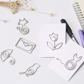 6 pcs/lot Metal Cat Heart Rose Shape Paper Clips Silvery Color Funny Kawaii Bookmark Office School Stationery Marking Clips