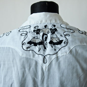 Vintage Rockmount Ranch Wear Rockabilly Western Black and White Cowboy Square Dance Shirt 60's Unisex
