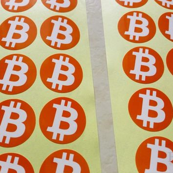 30mm bitcoin logo sticker, clear printing on art paper, label it to love digital currency, 500pcs/lot, Item No.FS03
