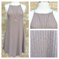 A Sleeveless Knit Dress in Oatmeal