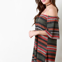 Rib Knit Multicolor Stripes Off The Shoulder Shift Dress