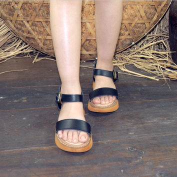Design Summer Stylish Strong Character Vintage Leather Shoes Flat With Heel Sandals [6050469889]
