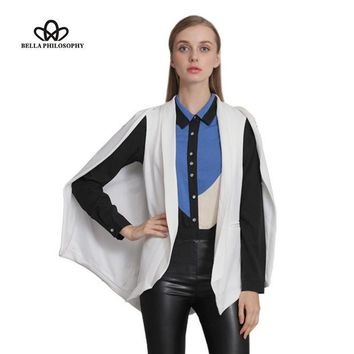 DCCKWQA Bella Philosophy 2016 autumn winter wine red navy blue white black new women's shawl blazer cape jacket