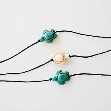 turquoise turtle choker - black cord, minimal, delicate, dainty