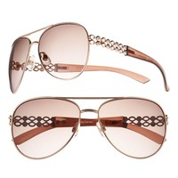 daisy fuentes Rhinestone Cut-Out Aviator Sunglasses - Women (Pink)