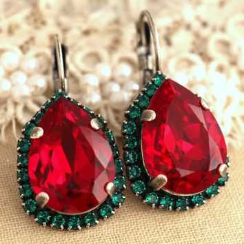 Red Green Christmas Crystal  Drop earrings, Christmas Gift for her, Ruby Emerald Swarovski Crystal Stud earrings, Ruby Silver drop earrings.