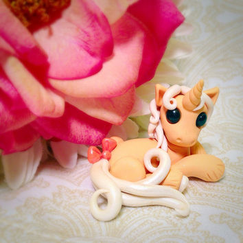 Adorable Unicorn custom polymer clay Miniature Creamsicle Dessert pony horse figurine by Tempies Menagerie