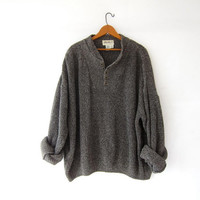 vintage speckled henley sweater. loose knit sweater. black + cream sweater. boyfriend sweater. oversized sweater.