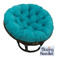 Microsuede Papasan Cushion / Floor Pillow / Pet Bed, 48 Inch Teal Aqua Blue, Compare to Bean Bag Chairs, Gaming Chairs