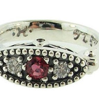 Precious Silver Ruby and Diamond East West Three Stone Ring