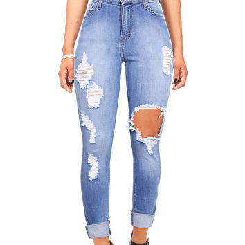 Dynamite High Waist Shredded Skinny Jeans